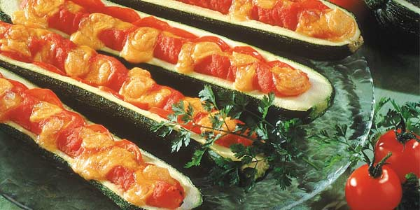 "Stuffed courgettes with ""Mimolette and tomatoes"""