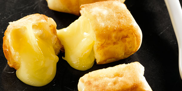 Crunchy Camembert parcels, with a sweet and sour topping