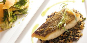 Pan fried sea bass with extra mature Mimolette and black olives