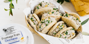 Mini pittas stuffed with sardine rillettes, preserved lemon and fromage frais
